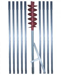 10 m Erdbohrer mit 120 mm Bohrkopf
