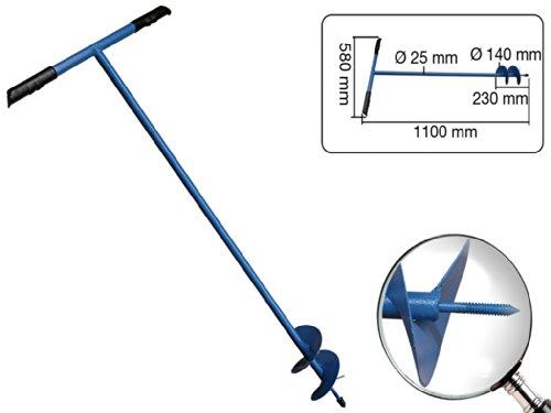 Erdlochbohrer 1100 mm lang Durchmesser 140 mm aus Stahlrohr