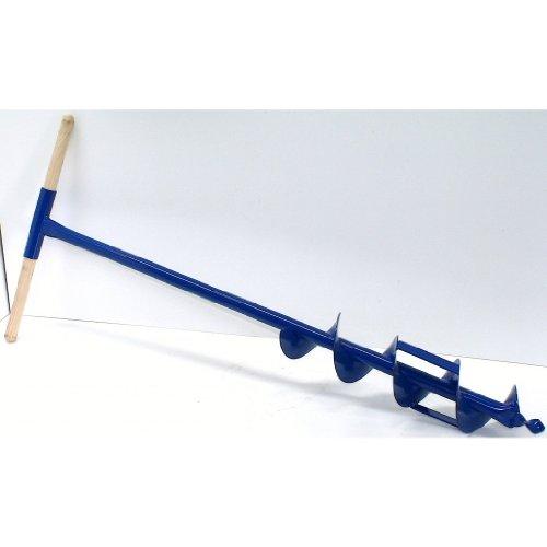 Erdbohrer, Erdlochbohrer mit 11 cm / 110 mm Durchmesser aus Stahl mit Holzgriff und zusätzlichen Schneidmessern, 5 Jahre Garantie